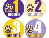 12 Monthly Baby Milestone Waterproof Glossy Stickers - Geaux LSU Tigers - Design M026-01