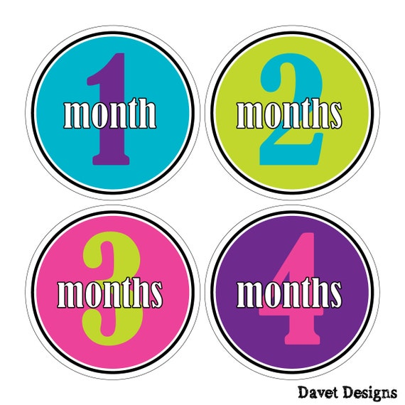 12 Monthly Baby Milestone Waterproof Glossy Stickers - Just Born - Newborn - Weekly stickers available - Design M021-08