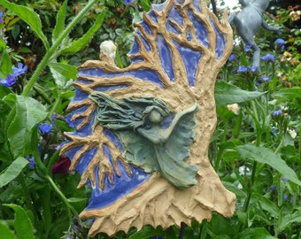 Nature Spirit/Fairy/Garden Angel Tree of Life hanging wall tile-Green Copper Patina