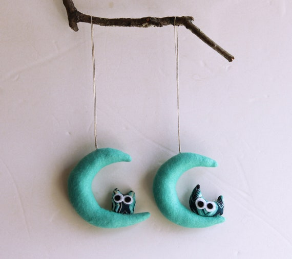 Two mint green Moons with owls. Felt Decoration wall hanging.