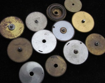 Antique Vintage Clock Watch Parts Cogs Gears Assemblage Steampunk Industrial Art Goodies C 100
