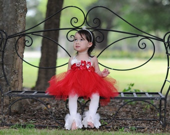 Couture Red Tutu Dress for Birthday or flower girl size 0-3T - Perfect for Birthday, Wedding, Christmas, Photos