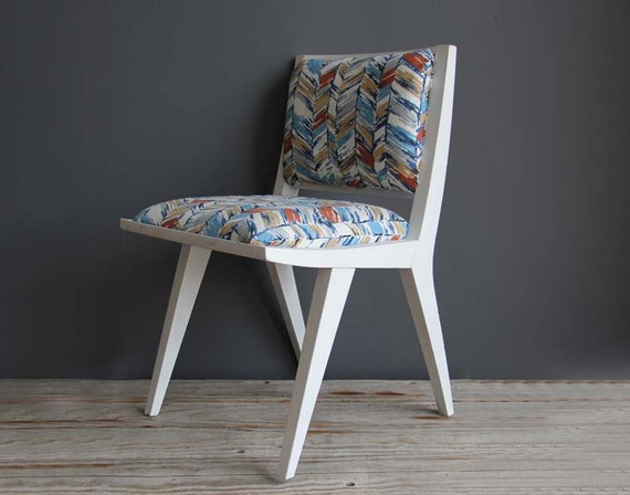 Mid Century Jens Risom Style Chair with Upholstered Seat