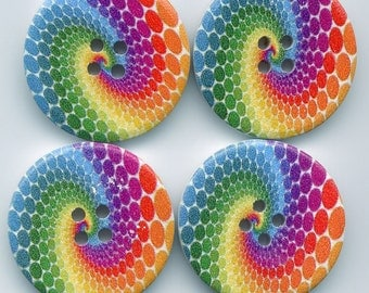 Rainbow Swirl Buttons Decorated Funky Wooden Buttons 30mm (1 1/4 inch) Set of 8 /BT15