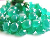Green Onyx Gemstone Briolette AAA Faceted Onion 8mm 30 beads 1/2 Strand