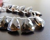Smoky Quartz Briolette Checkerboard Cut Faceted Triangle Drop Focal 14mm LAST