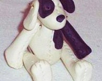 Vintage Clay Beagle Figurine, Handcrafted Joined Dog Figure, Posable Clay Beagle Dog
