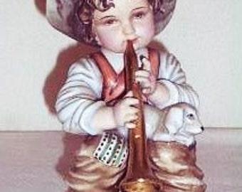 Vintage Boy and Dog Figurine, Horn Player Figurine, Rare Vintage Lipper & Mann Figure, Little Boy Horn Player Figure, Rare Vintage Figurine