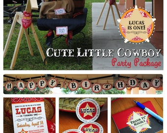 DIGITAL Pick 5 - Cute Little Cowboy (or Cowgirl) Party Decoration Package in Red, Brown, Bandana with Stars