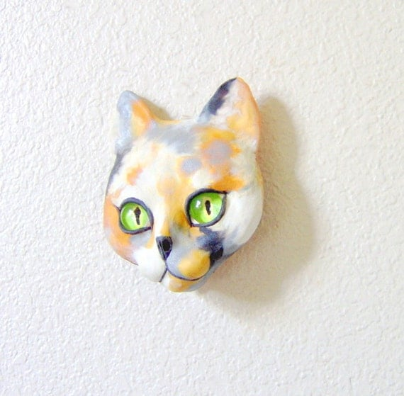 Calico Cat Face Mask Wall Sculpture OOAK