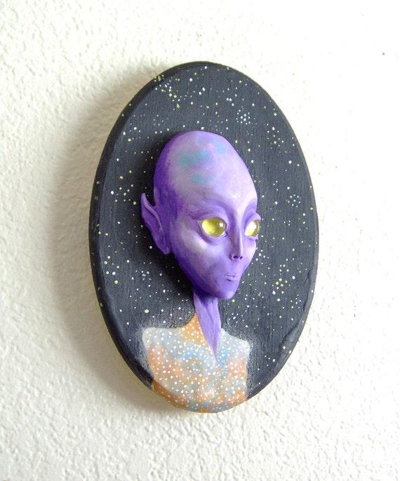 Purple Alien Face Wall Sculpture Visionary Art