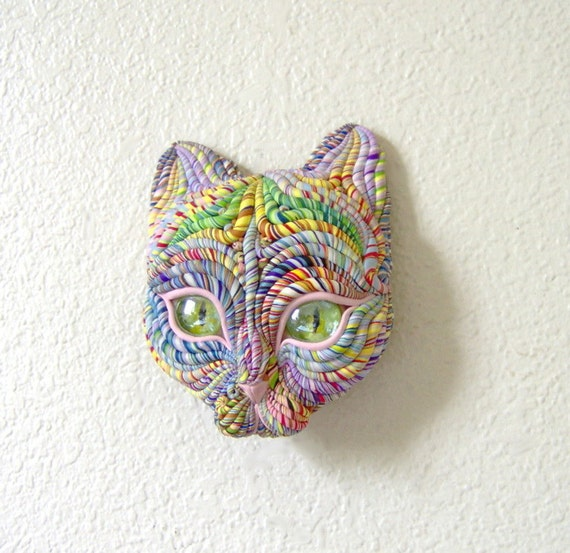 Cosmic Cat Face Sculpture Visionary Art Green Eyes