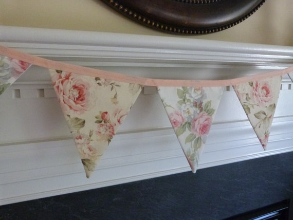 Shabby Roses Chic, Wedding , Baby Nursery, Photo Prop, Shower Fabric 5 Bunting Flags - 4.5 Feet - READY TO GO