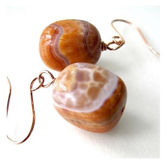 Earthy Gemstone Earrings Orange and Peach Fire Agate, Copper