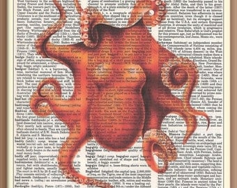 GIANT ORANGE OCTOPUS ---Vintage Dictionary Art Print-Fits 8x10 Mat or Frame