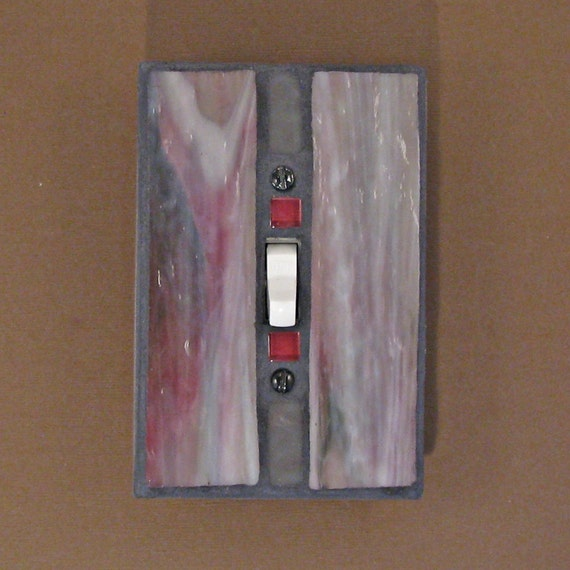 Stained Glass Switch Plate - Light Switch Cover - Wall Plate - Gray - Pink - 7431