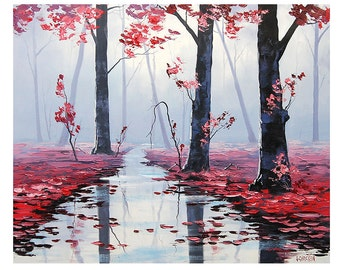 Large pink trees painting commissioned misty river impressionist
