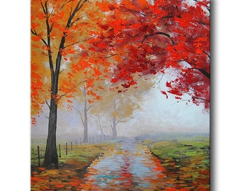 REALISTIC OIL PAINTING fall trees impressionism Misty Road Art Deco