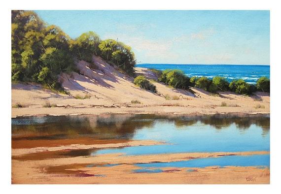 BEACH PAINTING Sand Dunes Original Oil  Wall Art by Australian Artist G. Gercken