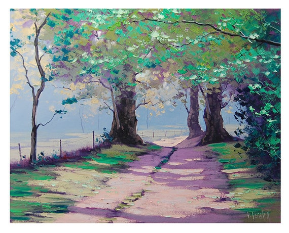PAINTINGS on CANVAS SUMMER Trail oak Impressionist Trees Original Landscape oil by G. Gercken