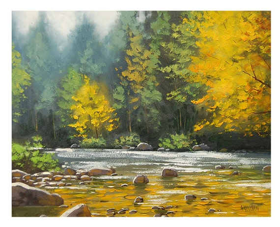 Autumn OIL PAINTING River Impressionist Landscape Fall Art by award winning artist Graham Gercken