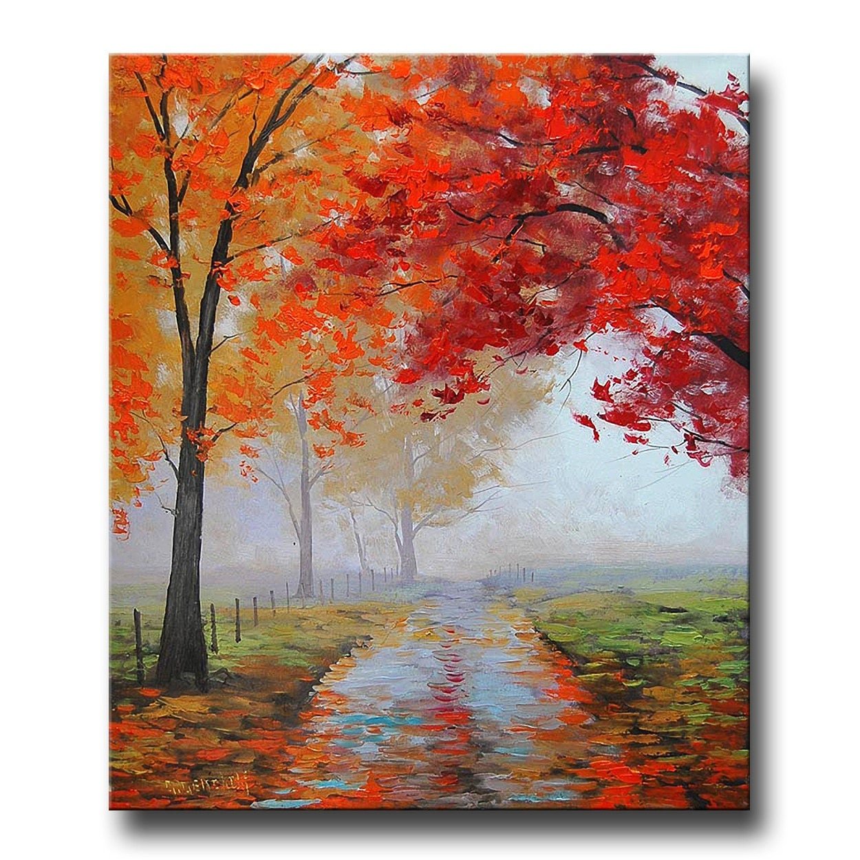 Realistic oil painting fall trees impressionism misty road art for Autumn tree painting