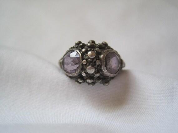 Vintage Ring - Sterling Amethyst Ring - Modern
