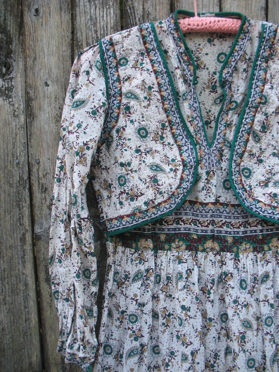Unique Vtg 70s Indian Gauze Quilted Vest Maxi Dress sz s/m  /  I Want to Rock Your Gypsy Soul