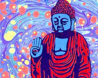 """50% Off Summer Sale* Fearless Buddha Ebru 5""""x7"""" Giclee Print"""