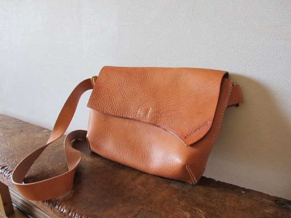 xxx RESERVED for shanshankha xxx Hand Stitched Simple Leather Flap / Messenger / Hip Bag - Caramel Brown -