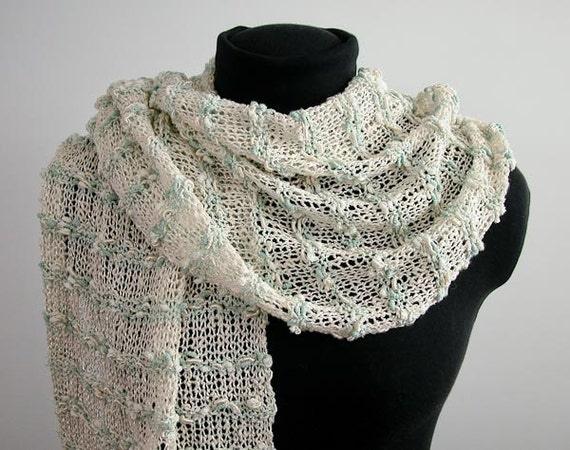 Wedding or Special Occasion Knitted Shawl: The Memory Keeper - Mint & Cream, Vegan - Item 1124