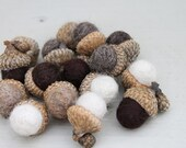 Set of 16 Wool Felted Acorns in 4 Neutral Colors Home Decor Eco Friendly