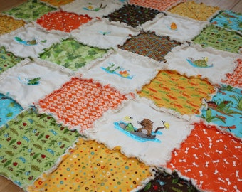 Embroidered Baby Quilt, Baby Rag Quilt, Boy Blanket, Embroidery, Animals, Meadow Friends, Orange, Green, Frog