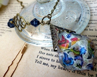Florentine Phoenix Prism Necklace - OOAK Handmade Floral Bird Glass Pendant Necklace