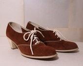 Vintage Shoes / Suede Oxfords /  Sz 7 / 1960s