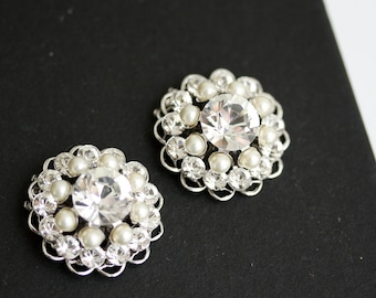 Bridal Wedding Shoe Clips Swarovski Crystal Pearl Round  Shoe Clips Wedding Accessories  ELLA
