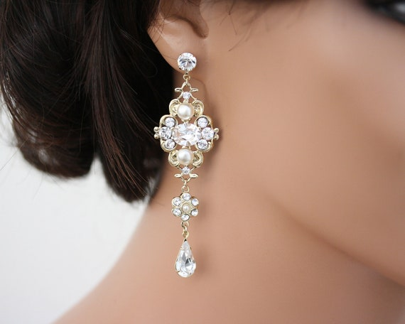 Chandelier Earrings Gold Bridal Earrings Swarovski By