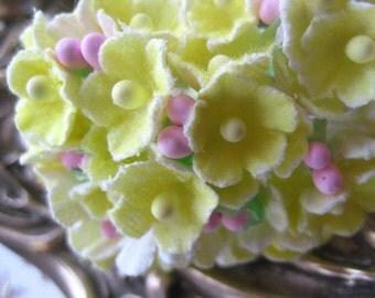 Forget Me Nots Millinery Flowers In Lemon Yellow 1 Bouquet