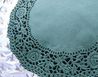 Made In Germany 10 Fancy Paper Lace Doilies Doily In Dark Green 6.25 Inch