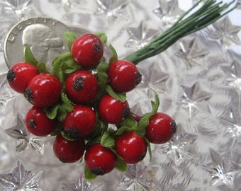 12 Millinery Red Berries Berry Fruit From Austria