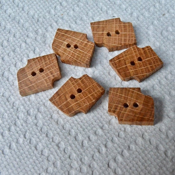 Wood or Wooden Buttons Lot of 6 Medium Spalted Oak Tree Branch Buttons....1 1/4 inch....2 holes....114