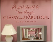 SALE -A girl should be two things, classy and fabulous - ONE BLACK vinyl wall graphic