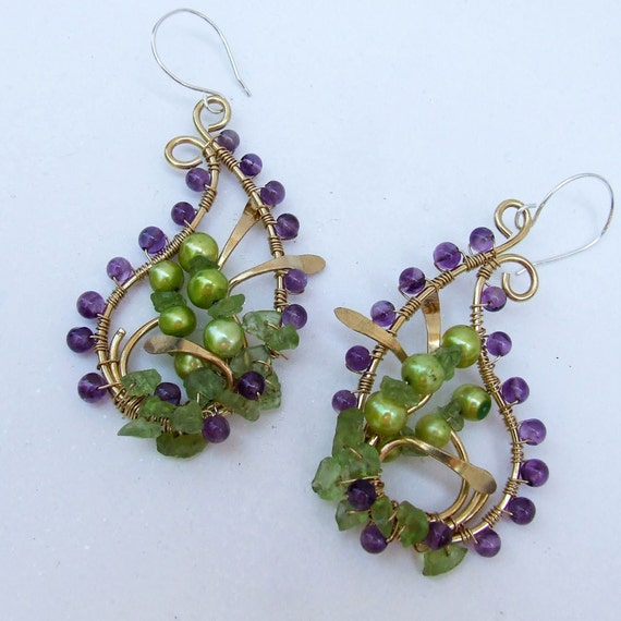 Beaded Paisley Earrings, English Country Garden earrings in amethyst, peridot and pearl