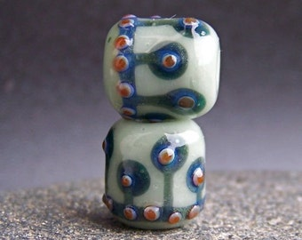 MruMru handmade lampwork beads, earring pair set.  MINI Boro ORGANIC rolos.  Sra