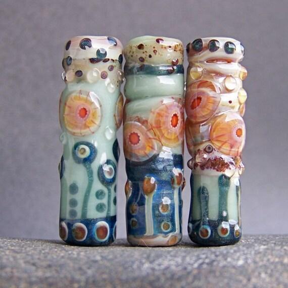 MruMru Handmade Lampwork Glass Bead  set. 3 Organic murrini tubes. Sra.