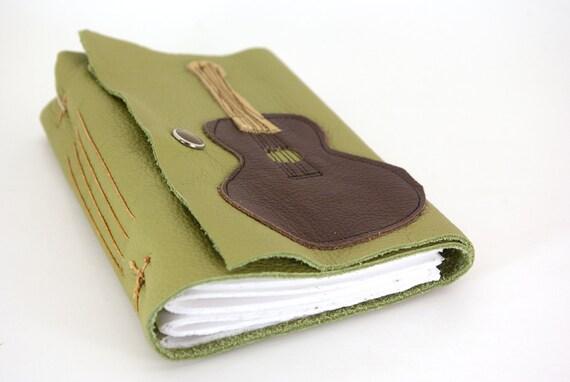 Acoustic Guitar - Leather Journal or Sketchbook (med)-