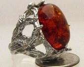 Handmade Sterling Silver Amber Gemstone Ring