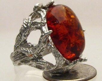Handmade Sterling Silver Amber Gemstone Cabochon Goth Ring