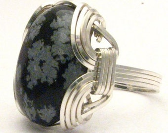 Handmade Sterling Silver Wire Wrap Snowflake Agate Ring