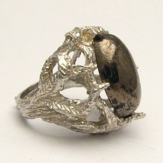 Handmade Solid Sterling Silver Pyrite Cab Ring